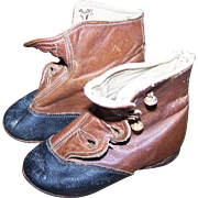 Oh SO Sweet Vintage Leather Hand Cobbled Baby Boots Booties Size 3