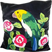 Vintage Mid- Century VELVET & CREWEL  Stitched Floral Bird  Themed Parrot Pillow