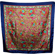 Pretty Vintage Colorful Floral Motif Ladies Large Fashion  Scarf