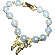 Charming Bracelet Faux Simulated Pearl with Golden Poodle Dog Charm Rhinestone Collar