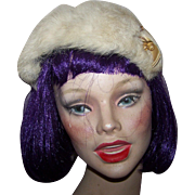 Charming Vintage Rabbit  Fur Band Hat Hair Headband with Original Decoration