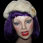 Charming Vintage Rabbit  Fur Band Hat Hair Headband with Original Decoration