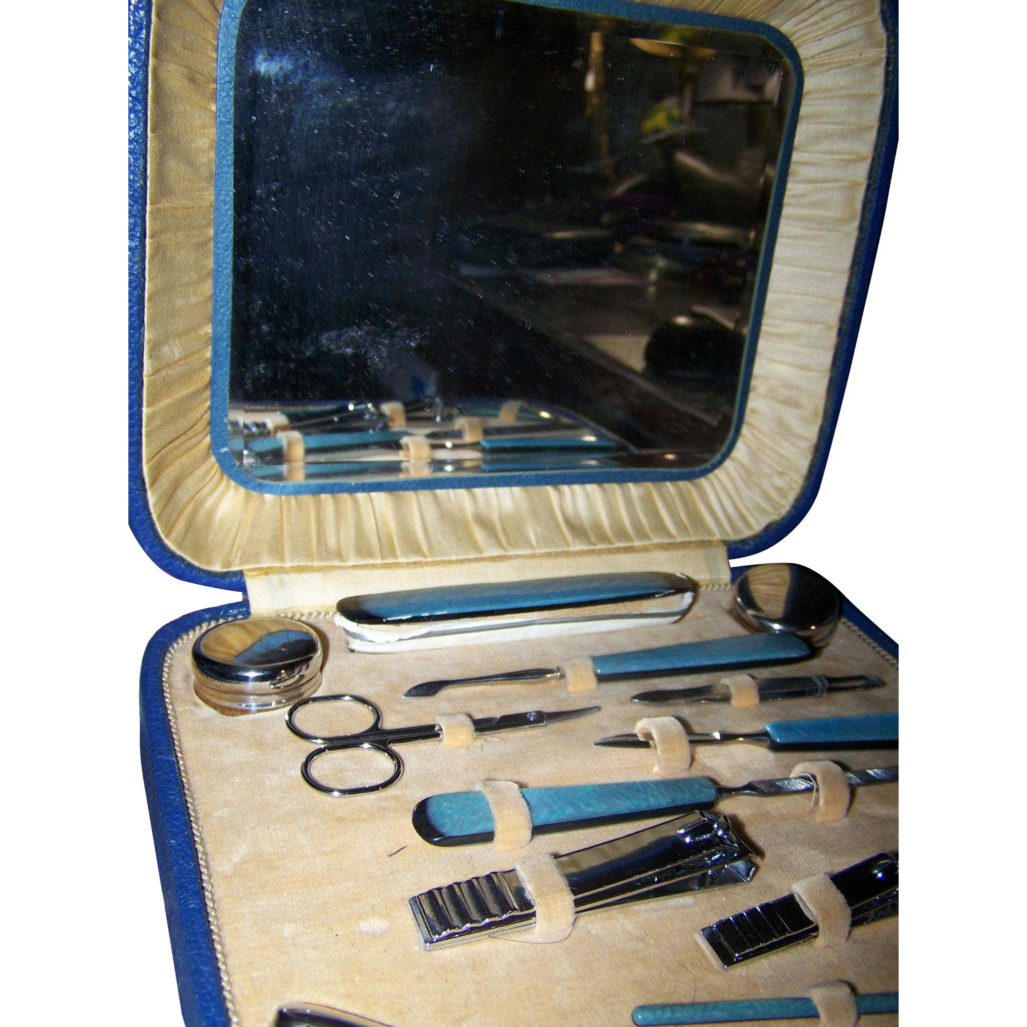 A Lovely Vintage Art Deco Era  Manicure Set Beveled Mirror Case 13 Pieces
