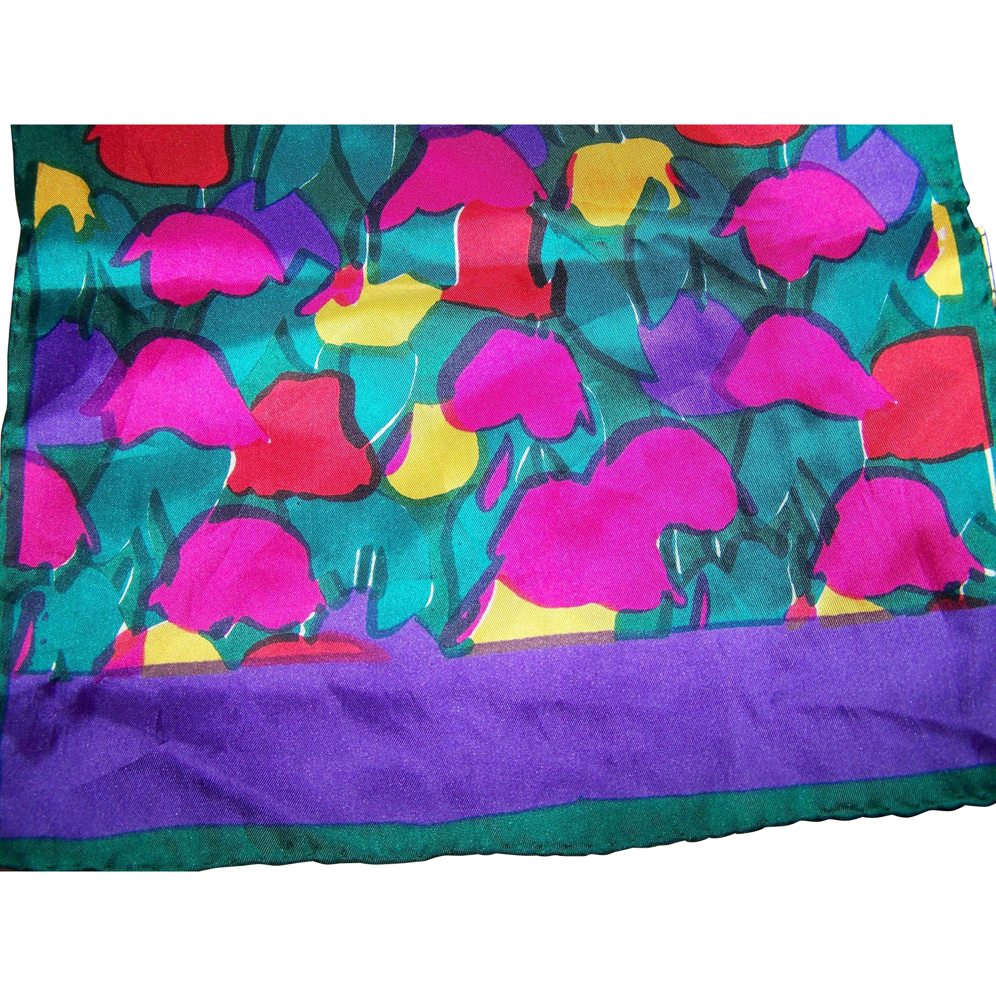Bright Cheerful and Colorful Long Rectangular Barr & Beards All Silk Flower Scarf