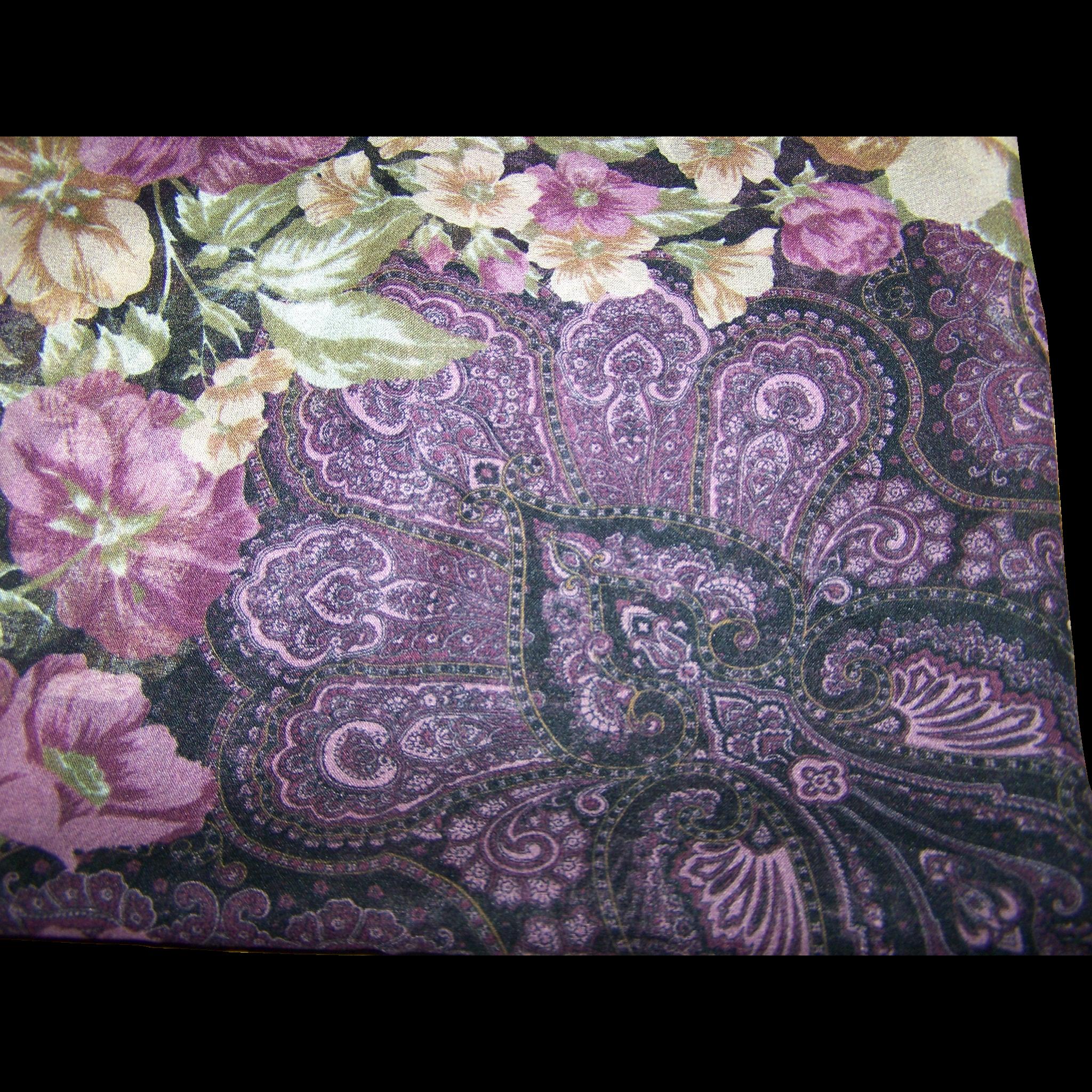 Pretty Vintage Sheer Floral Paisley Pattern Ladies Fashion Scarf