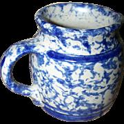 Pretty Vintage Spongeware  Blue and Creme Stoneware  Creamer