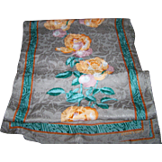 Vintage Designer Signed  Ellen Tracy Long Rectangular Silk Blend Scarf Flower Pattern
