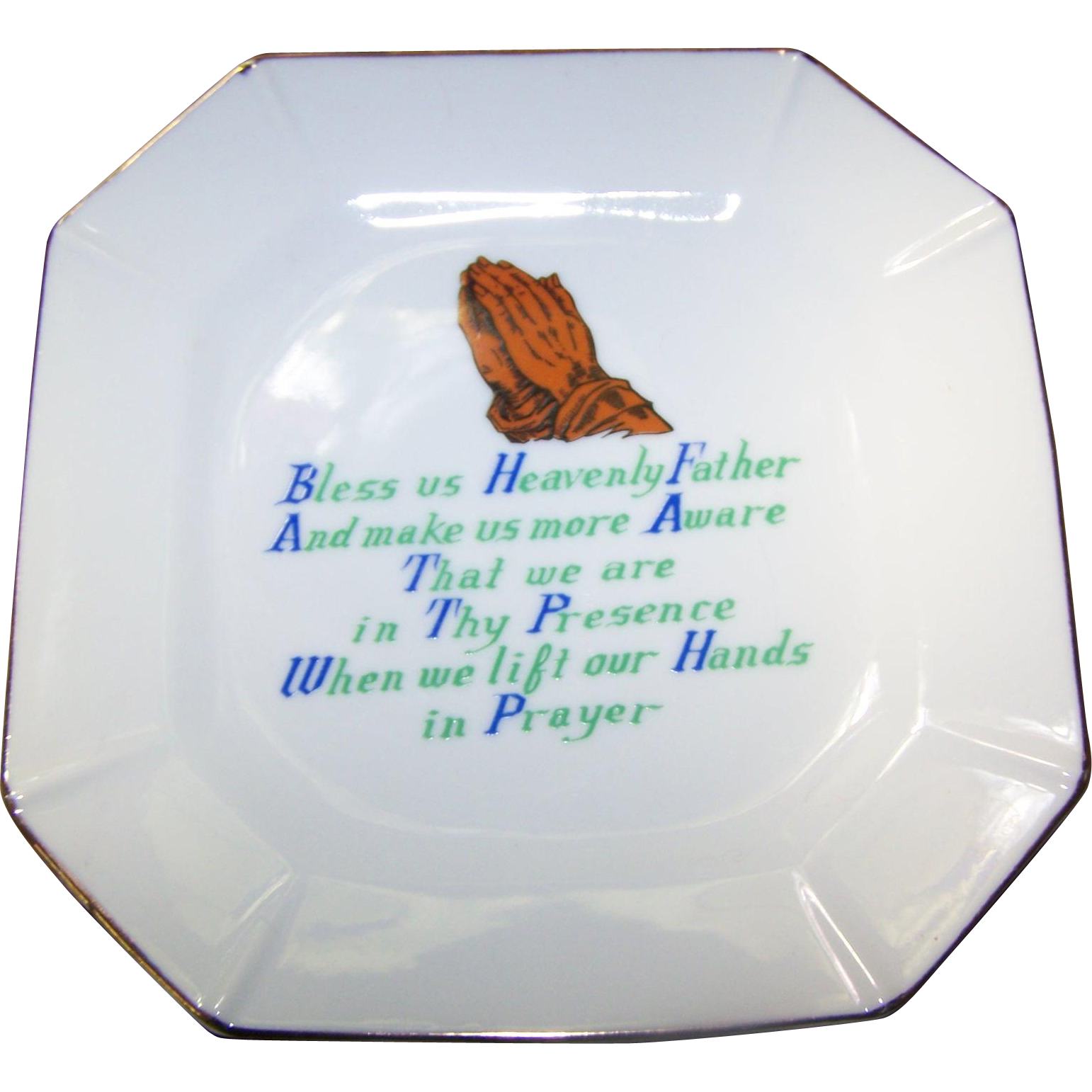 Vintage Religious Ceramic Motto Prayer Plate Bless us Heavenly Father Home Decor