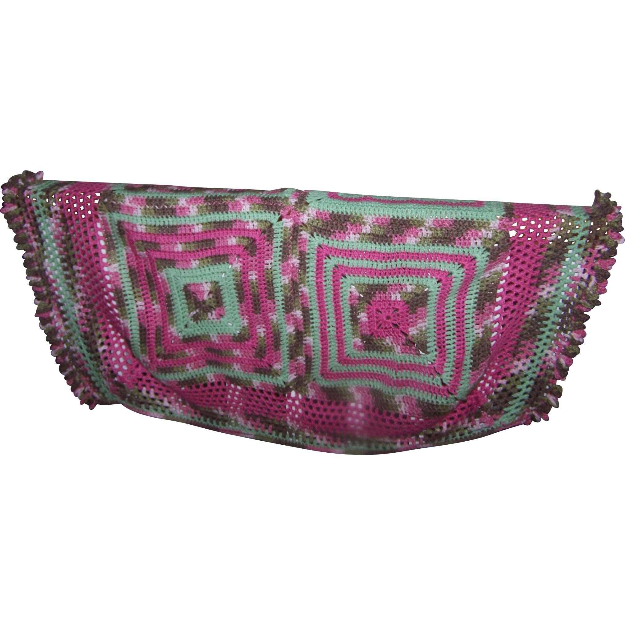 A Pretty Small Vintage Blanet of Coverlet Hand Crochet