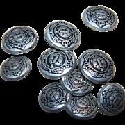 Lot of 10   Vintage  Metal Laurel Crown Military Regiment Buttons