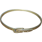 What A  Lovely Vintage Brass Faux Buckle Style Bangle Bracelet