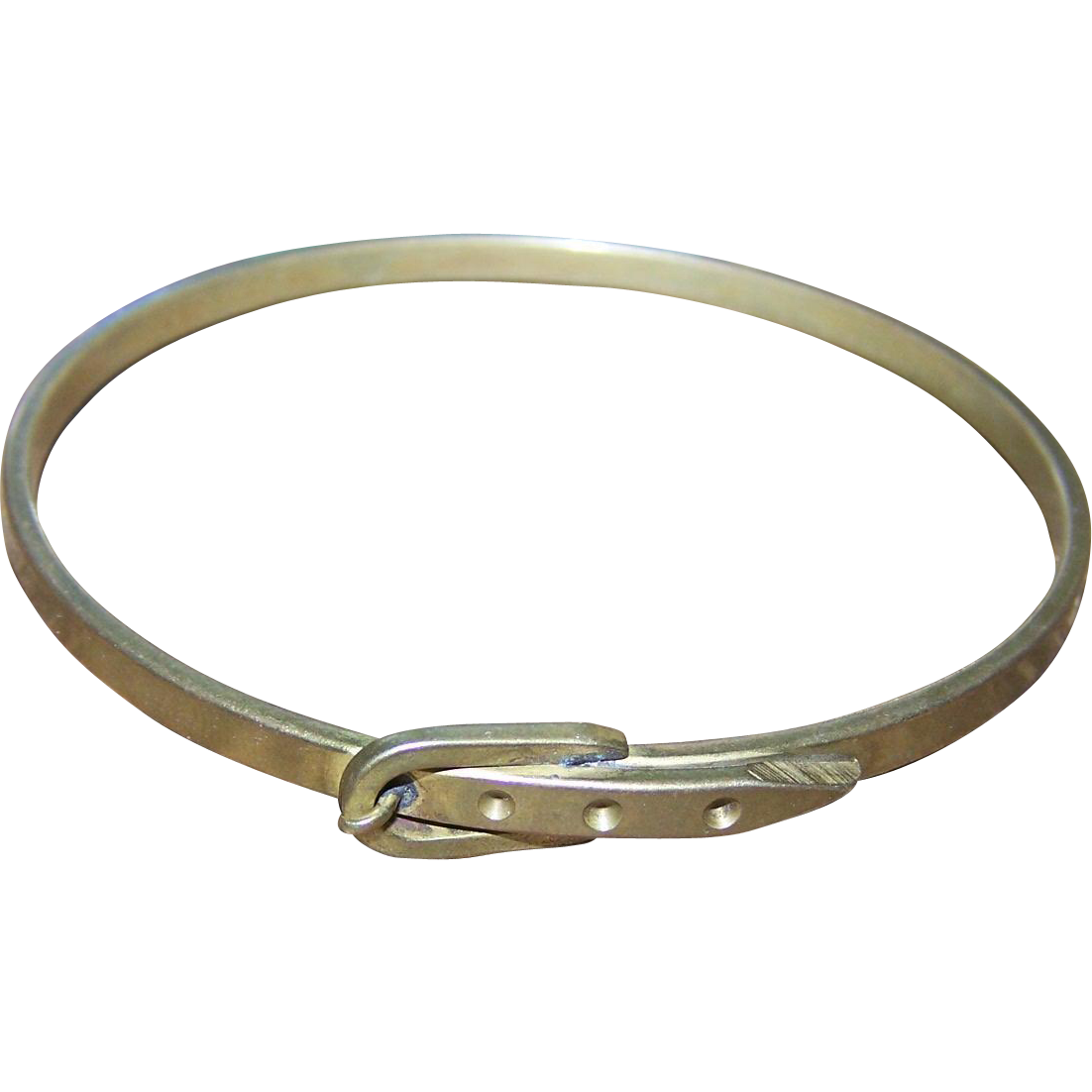 Lovely Vintage Brass Faux Buckle Style Bangle Bracelet