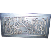 Silverplate Metalware Decorative Thank You No Smoking Sign Sheffield Silver Co