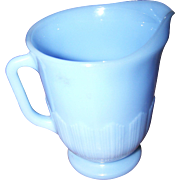 Collectible Vintage Blue Delphite Glass Milk Pitcher PYREX Pie Crust Pattern