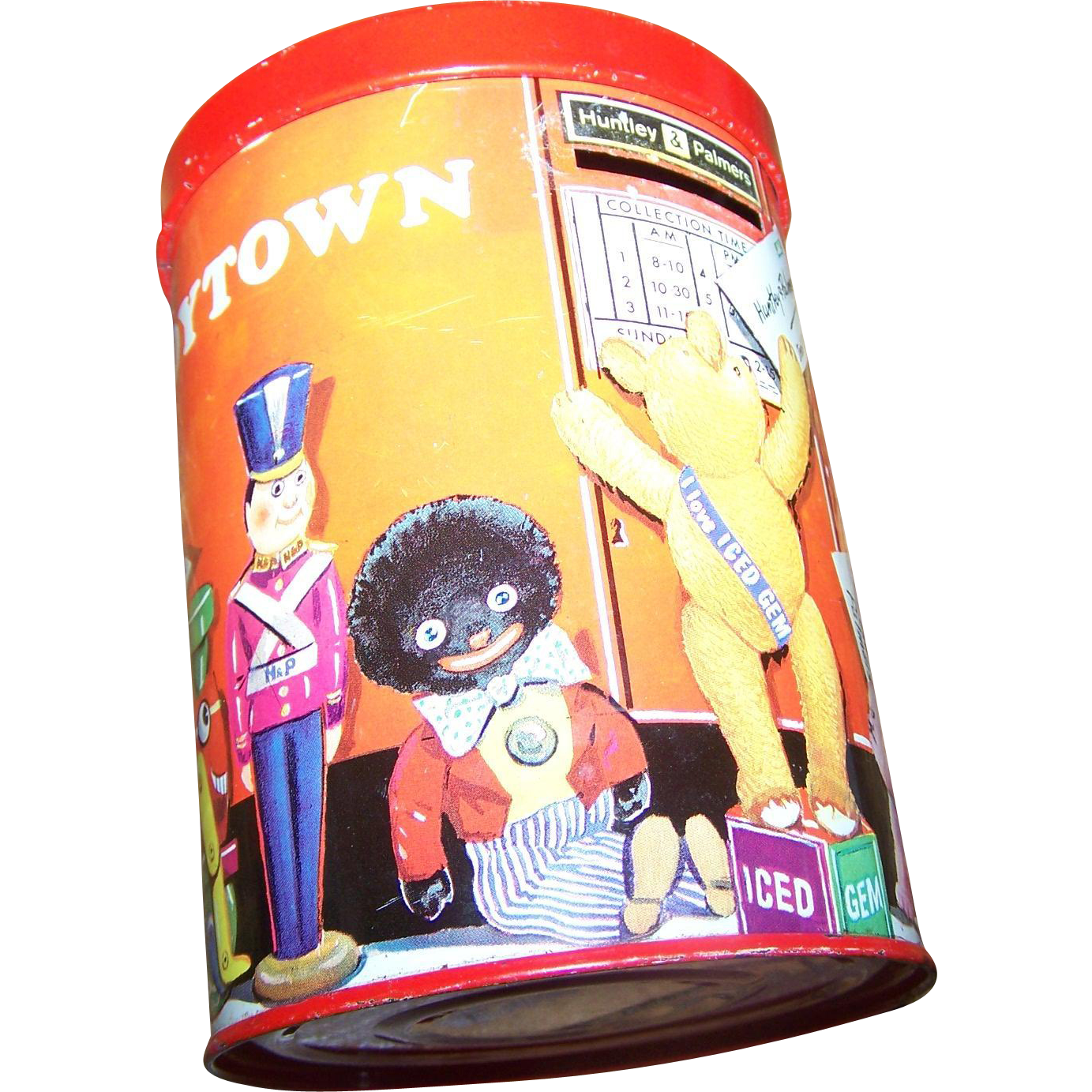 Vintage Collectible Novelty  Huntley Palmer ToyTown Iced Gem Tin Litho Container Bank