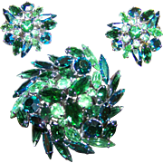 Stunning Green Crystal Rhinestone Demi-Parure Pat # 156452 Possibly Unsigned SHERMAN