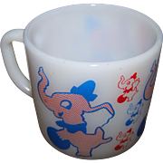Vintage Federal Milk  Glass Heat Proof Children's Mug Lucky Trunk Up Circus Elephant