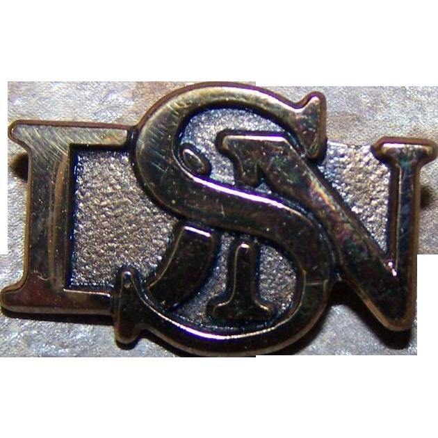 Vintage Monofram Style Gold Filled BIRKS Pin Brooch Initials DSN