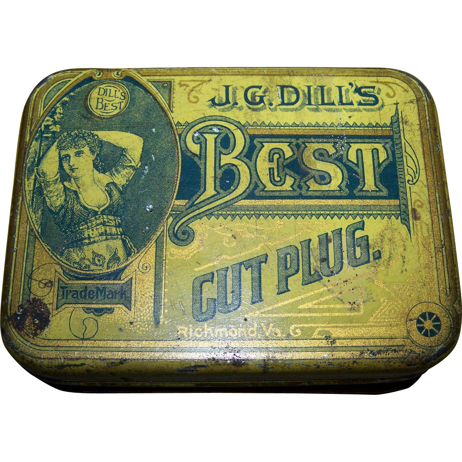 Vintage Advertising Tin Litho Box J.G. DIll's Best Cut Plug Tobacco