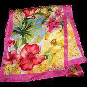 The Most Beautiful Tropical Floral Print  Rectangular Scarf Signed Harve Benard