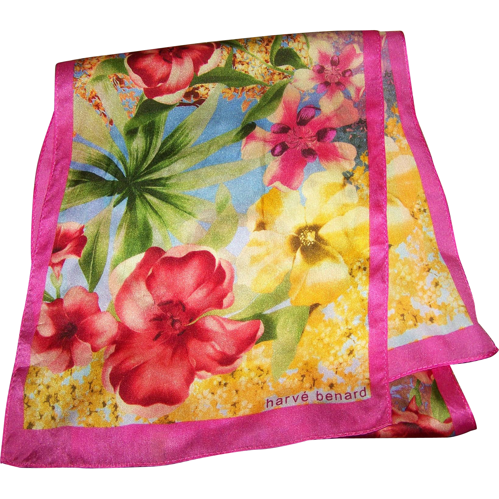 The Most Beautiful Tropical Floral Print  Rectangular Scarf Signed Harve Benard