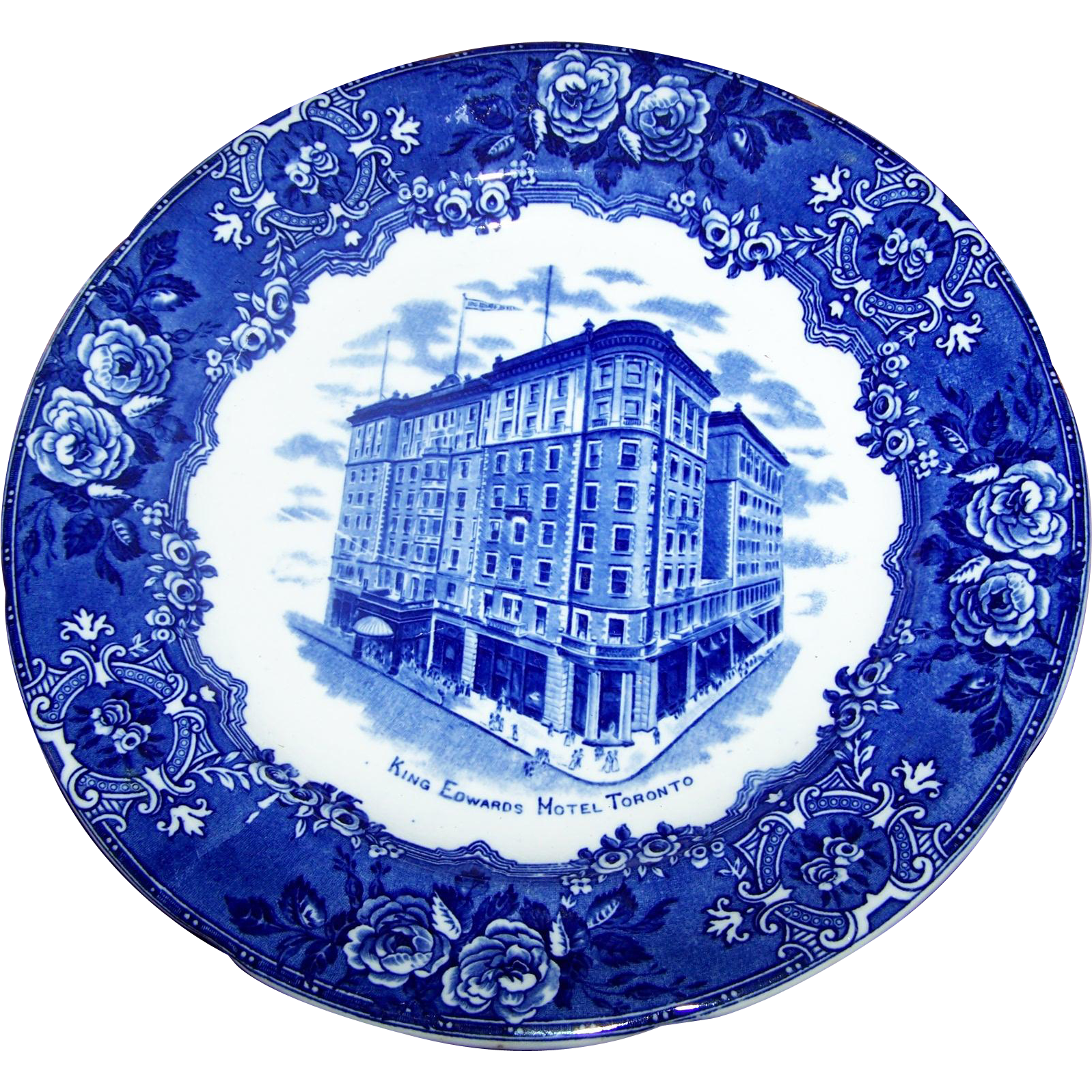Souvenir Plate  King Edward Hotel Toronto Canada Blue Transferware  George Jones & Sons  Crescent China England
