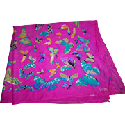 Designer Signed Club 7 ECHO Cotton Blend All Over Butterfly Theme Ladies Fashion Scarf