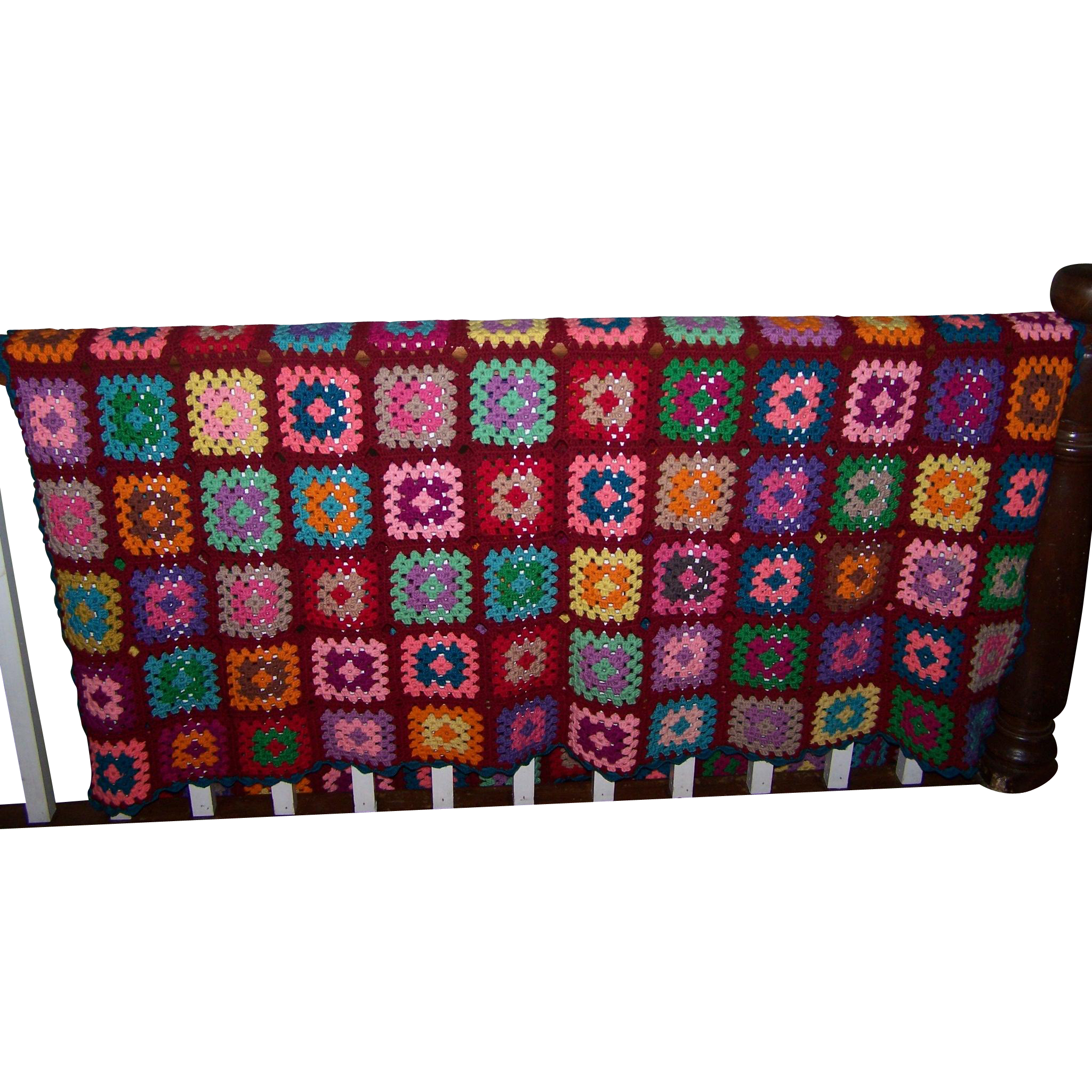 Bright Cheerful Hand Crafted Vintage Crochet Blanket Granny Square Sytle