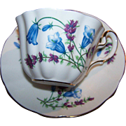 Sweet Vintage Tea Cup Saucer Set Blue Bell Floral Motif Mayfair England