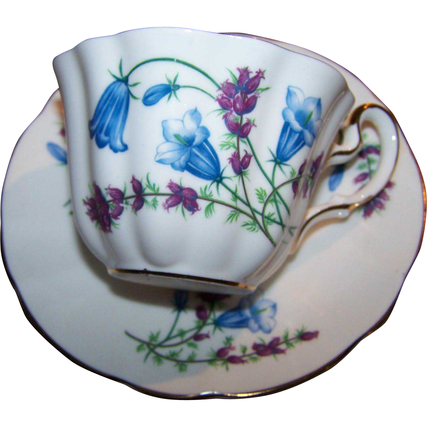 Sweet Vintage Tea Cup Saucer Set Blue Bell Floral Motif Mayfair England
