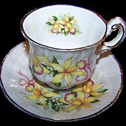 Paragon Tea Cup & Saucer Wedding Bouquets Orchid Flower Pattern