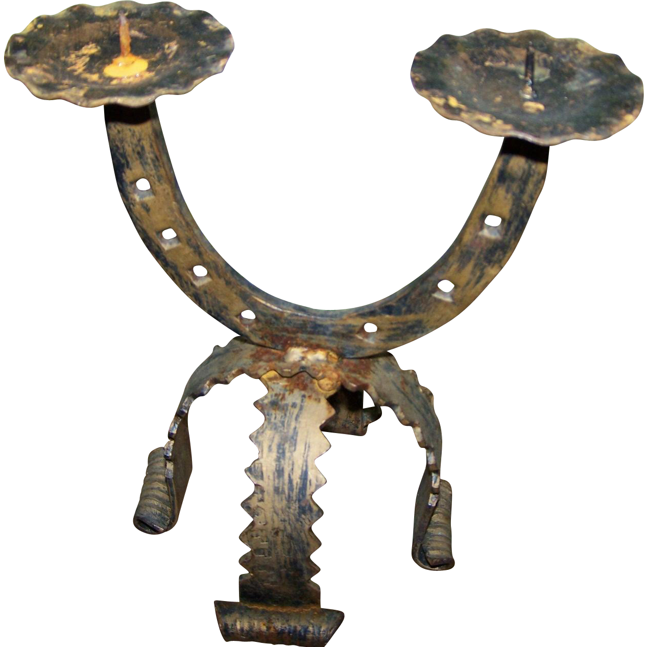 Rustic Folk Art Metalware Horse Shoe Double Candle Holder