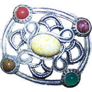Vintage Celtic Style Scotland Scottish Brooch Pin Faux Agate Stones