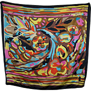 Bright Cheerful Silk Scarf Colorful Abstract Pattern Designer Signed Bernadet