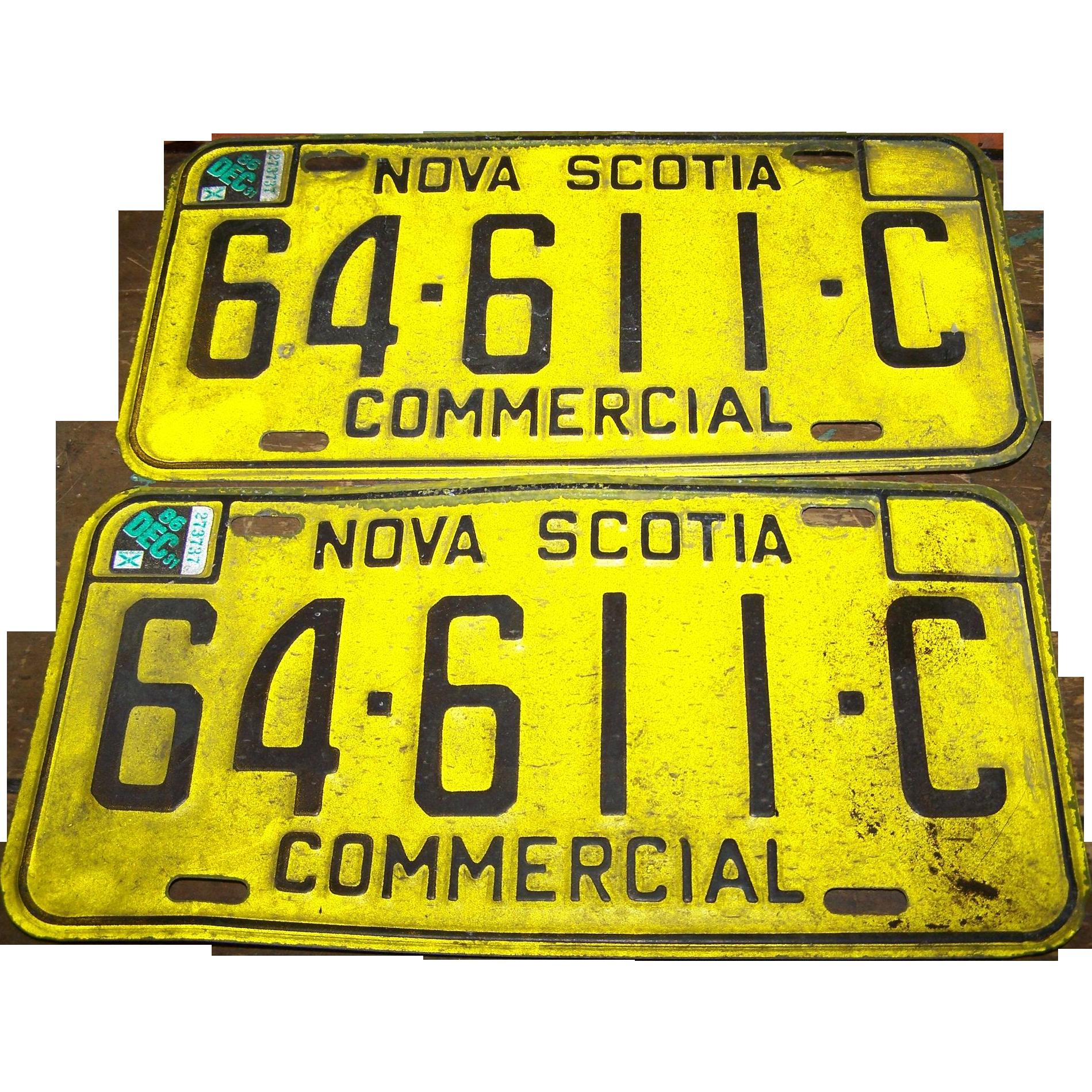 Vintage Nova Scotia License Plate Matching Commercial Set
