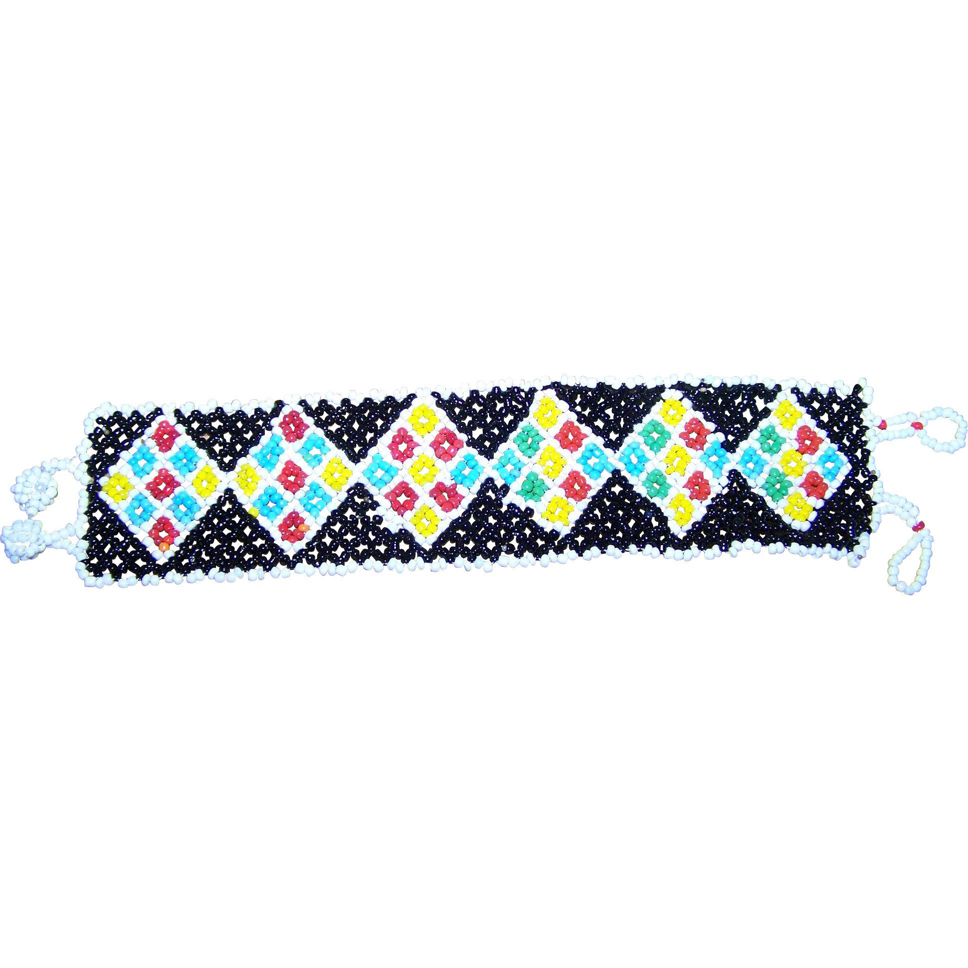 Colorful Vintage Seed Glass Bead Bracelet Flower Diamond Pattern