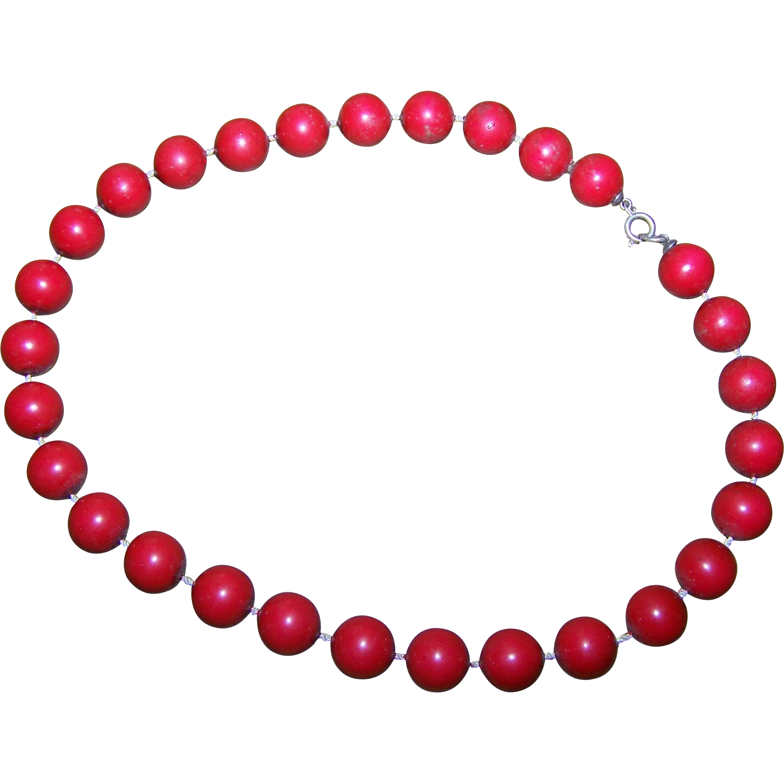 Simply Great A Vintage  Red Wooden Wood Bead Necklace