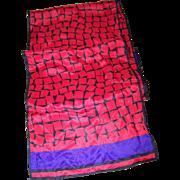 Geometric Op Art Long Rectangular Silk Scarf Designer SIgned  Evan Picone