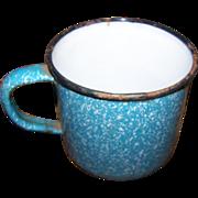 Primitive  Blue and White Spatter  Graniteware Enamelware Cup Mug