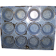 Primitive Hoosier Blue Graniteware 12 Muffin Baking Pan