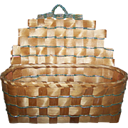 AN Old Native First Nations Mi'kmaq Woven Wall Mount Basket