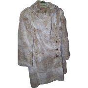 A Lovely Vintage Rabbit Fur Coat Designer Ulian Worcester Decorative Bunny Rabbit Stitched Lining