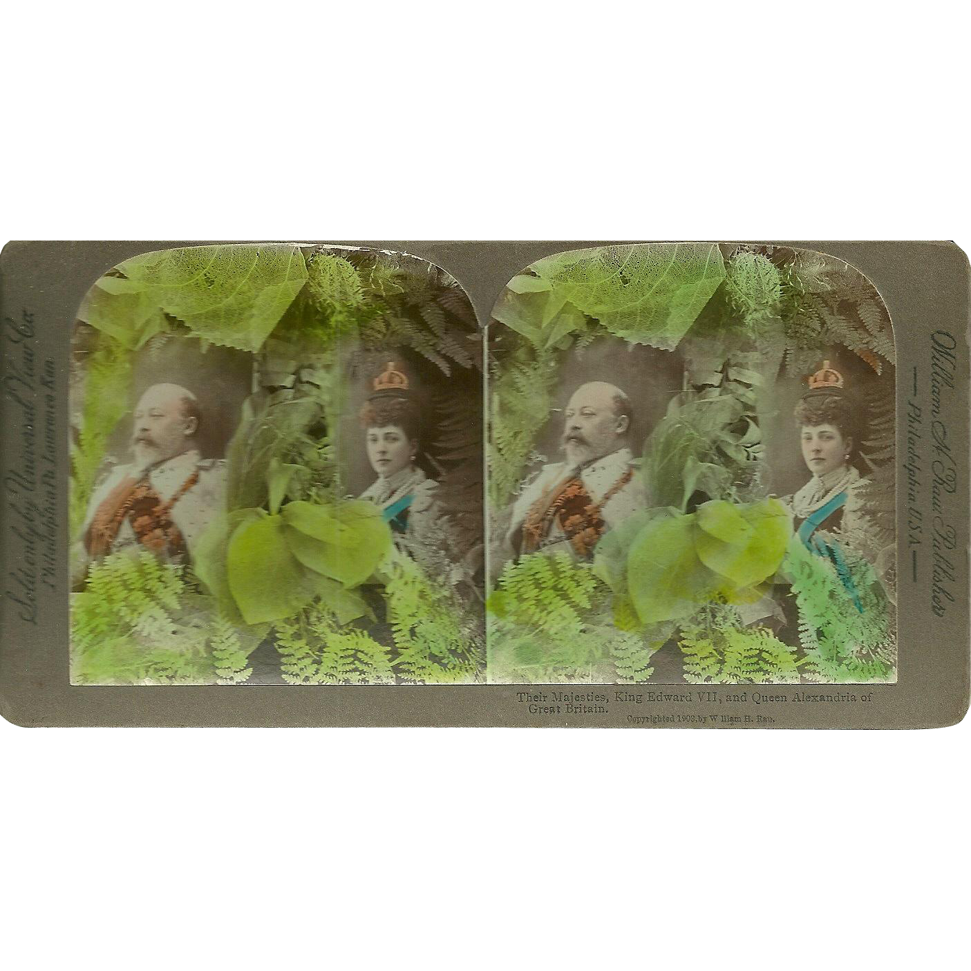 Stereo View Card  William H Rau Publishers  King Edward  VII And Queen Alexandria