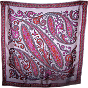 Vintage Paisley Style Designer Signed Cesandre Paris Ladies Fashion Scarf