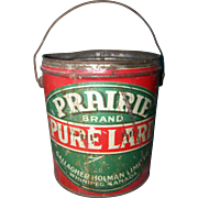 A Great Old Farmhouse  Canadian Advertising Tin Pail PRAIRIE Brand Pure Lard Gallagher Holman