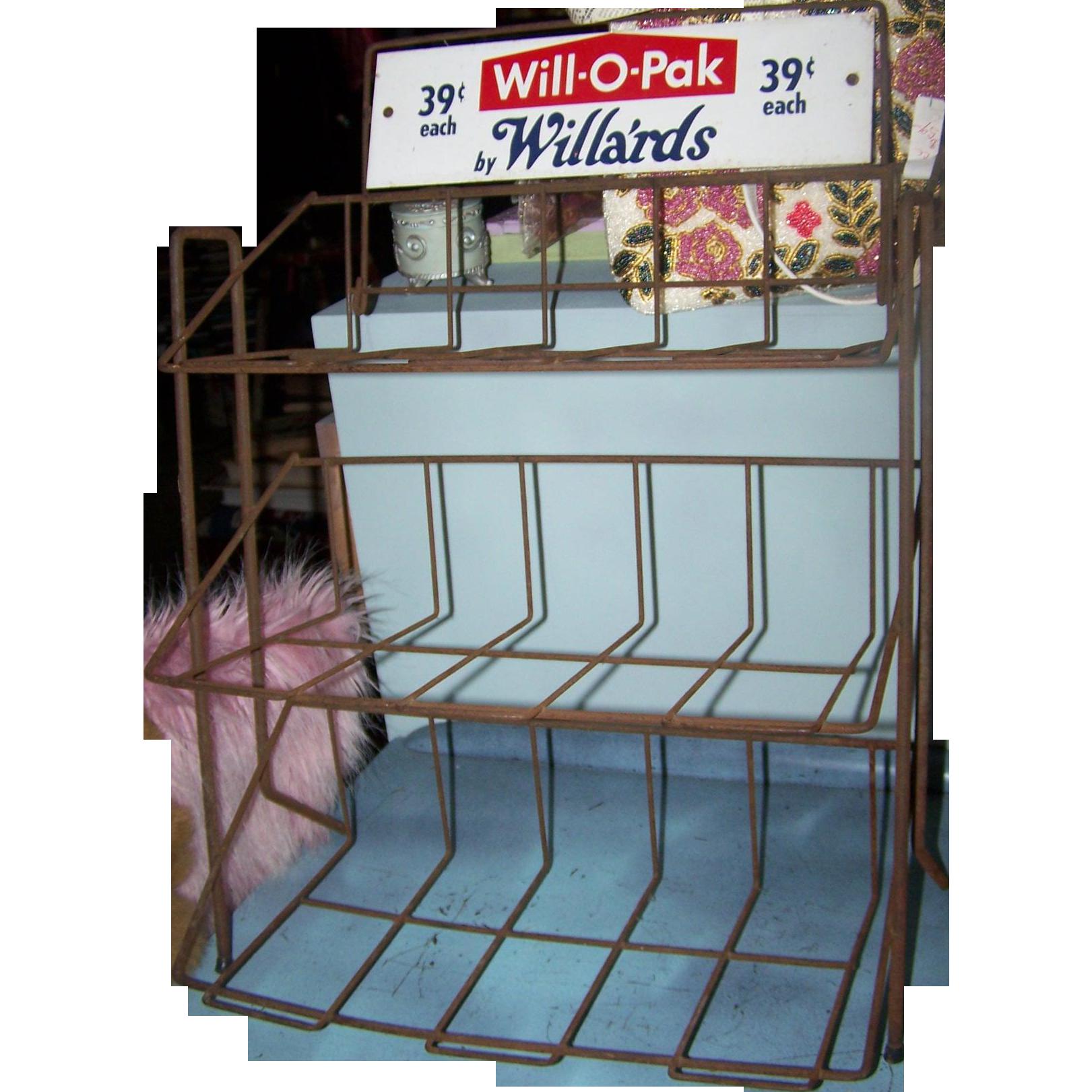 Vintage Collectible Advertising Store Display Metalware Rack
