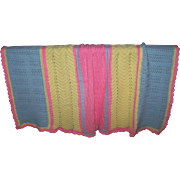 Pretty In Pastel Pink Yellow Blue Hand Crochet Blanket Bed Spread Coverlet