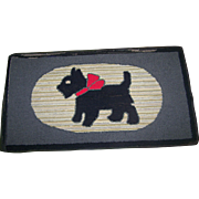 A Wonderful Old Hand Hooked Scottie Dog Mat Rug Lunenburg County
