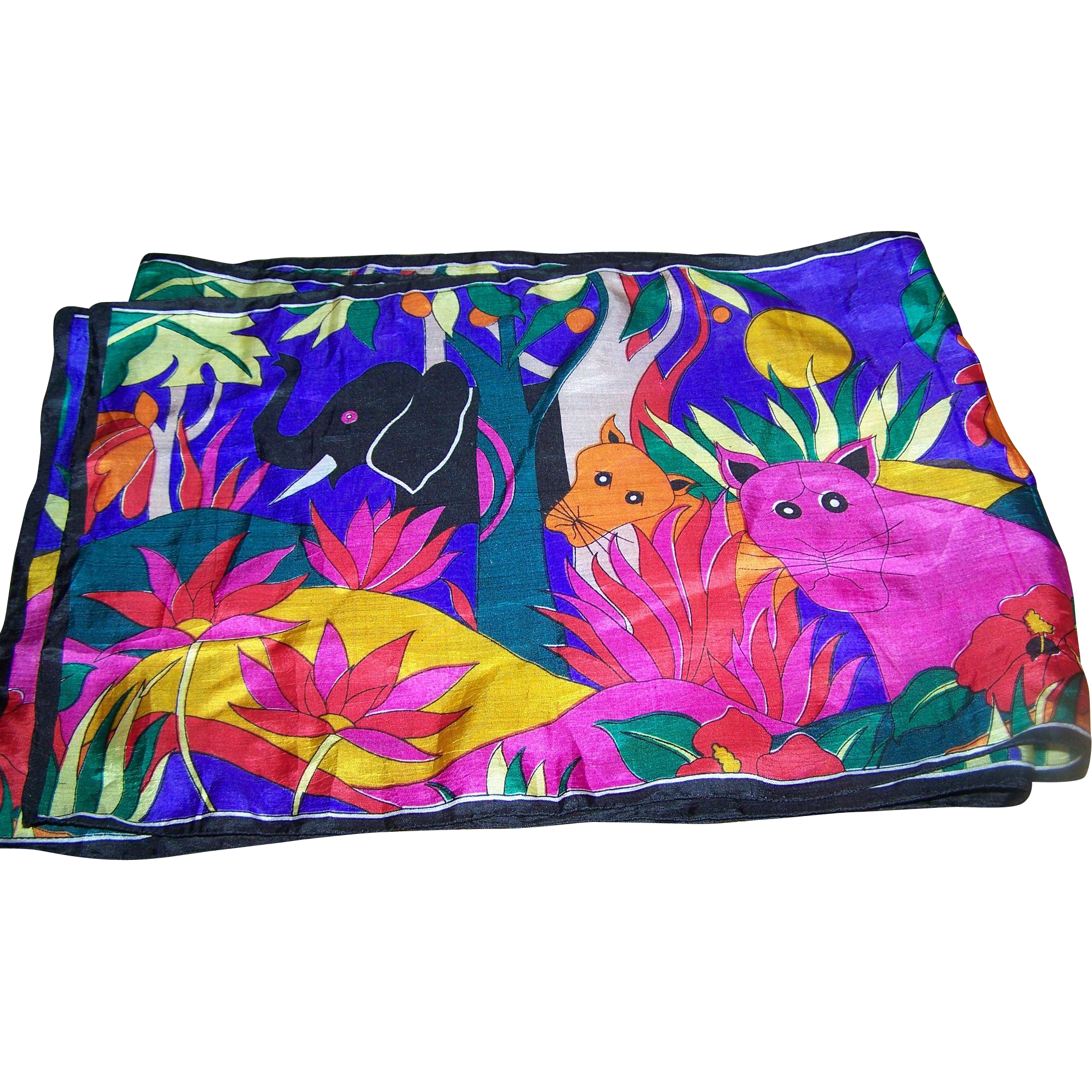 Long Rectangular Silk Scarf Colorful Bright Elephant Lucky Trunk Up Wild Cat Jungle Theme