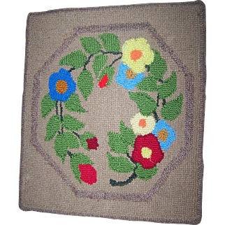 VIntage Hand Hooked Chair or Table Mat Floral Pattern Lunenburg County Nova Scotia Canada